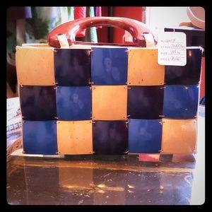 {vintage} Mini 70s Wooden Handle Shell Bag